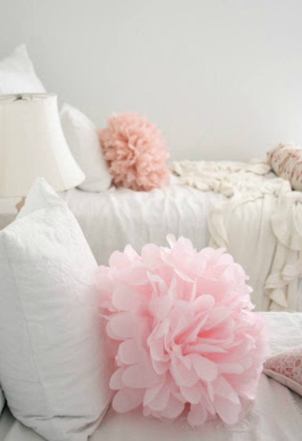 Pink tissue poufs in shabby chic white girls bedroom - Dreamy Whites. #pink #girlsbedroom #tissuepaper #dreamywhites