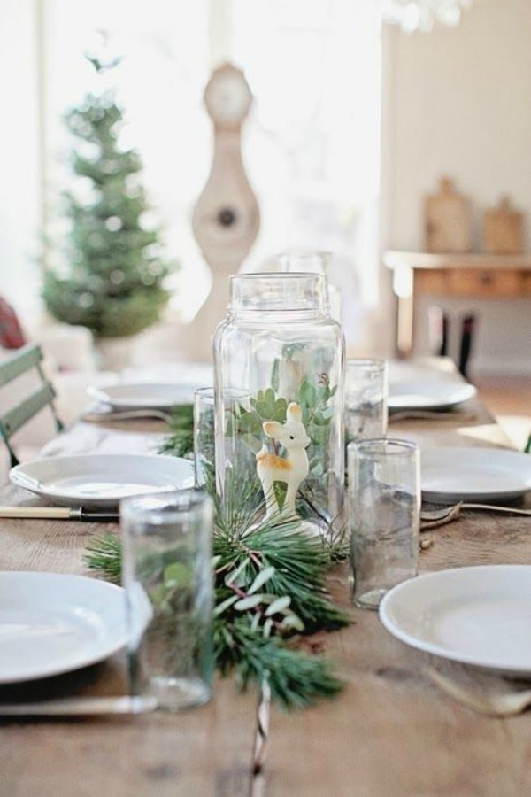 Quiet and lovely Christmas table with country French farmhouse charm by Dreamy Whites. #christmasdecor #tablescape #farmhousechristmas #dreamywhites #shabbychic