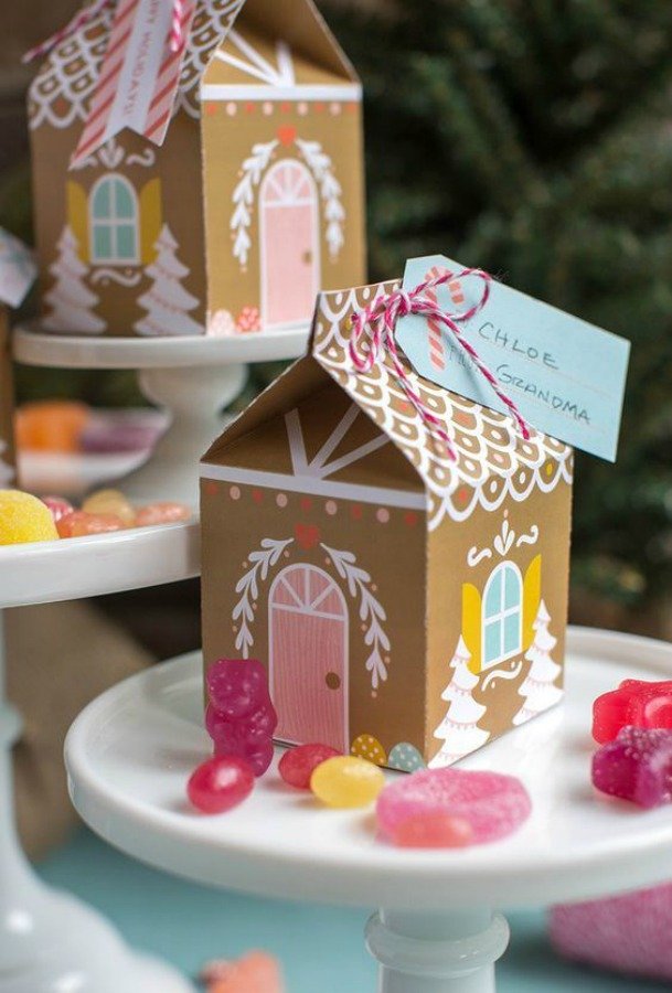 Gingerbread house box diy is a sweet way to package holiday goodies and Christmas cookies for gifts! #gingerbreadhouse #giftbox #christmasdiy