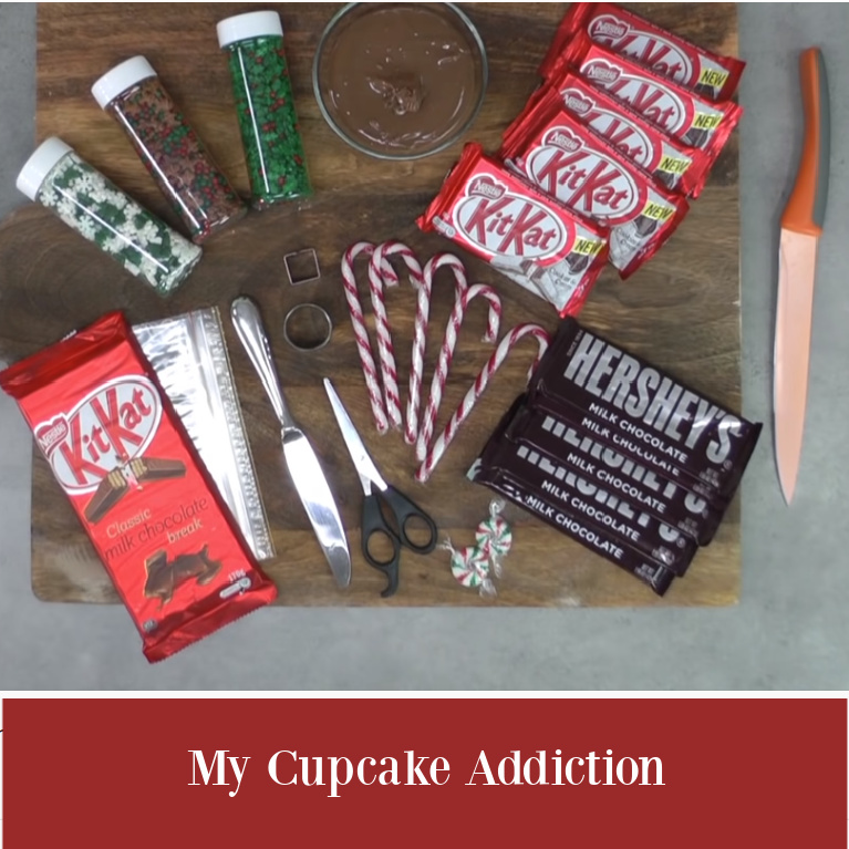 Ingredients for chocolate bar candy gingerbread house by My Cupcake Addiction. #gingerbreadhouses #chocolatehouses #candyhouses #holidaybaking #holidaytreats