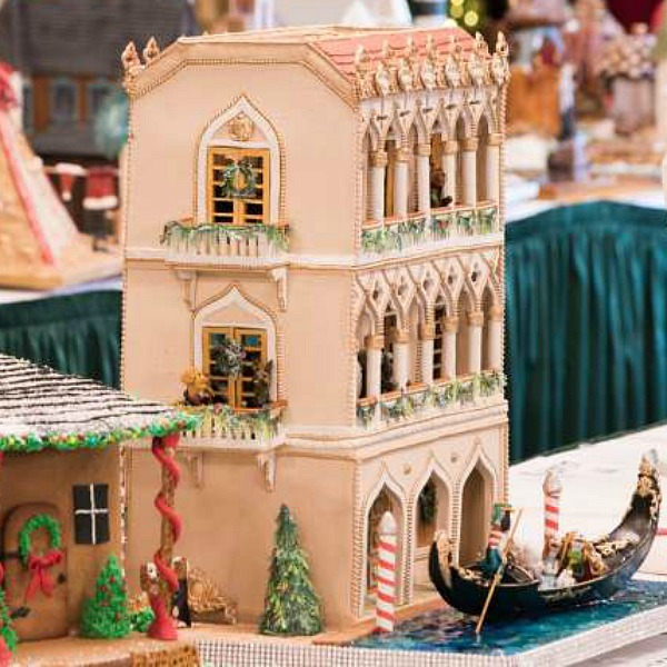 "Magnificent prize-winning gingerbread house by Glenda Tant called ""Christmas in Venice."" #gingerbreadhouse #christmasbaking #holidaybaking"