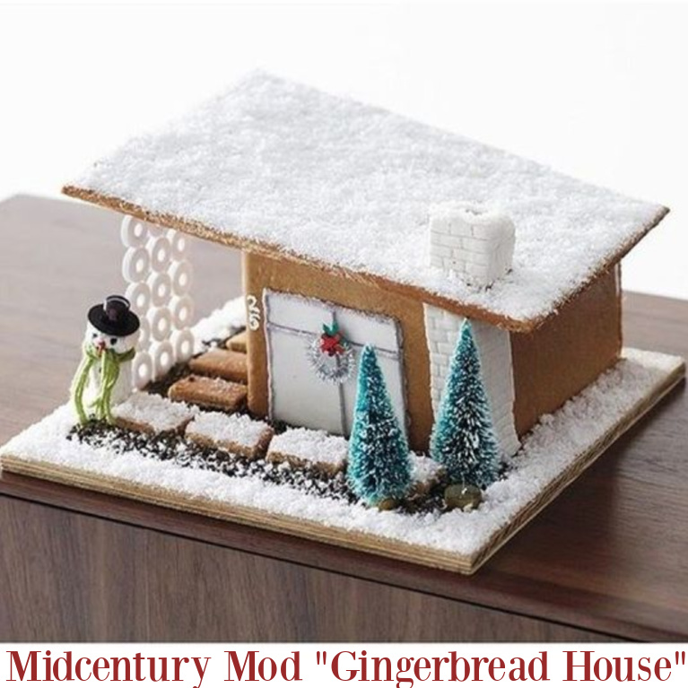 Gingerbread house with midcentury mod style. #gingerbreadhouses #holidaybaking #gingerbread #christmasbaking