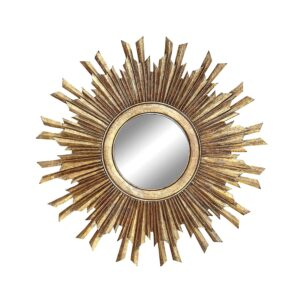 Gold starburst mirror makes a charming accessory in a French farmhouse or French country home. #starburst #mirrors #frenchcountrydecor