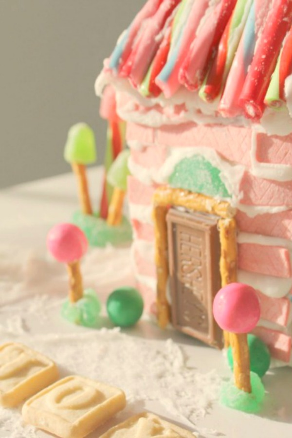 Wonky and quirky pink chewing gum candy house - Hello Lovely Studio. #gingerbreadhouse #pinkchristmas #candyhouse #diy