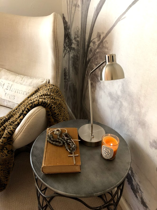 Serene reading corner with linen egg chair and grisaiile wallpaper - Hello Lovely Studio.