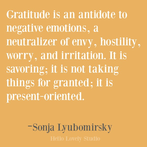 Inspirational quote about gratitude on Hello Lovely Studio. #gratitude #inspirational #quotes #lyubomirsky