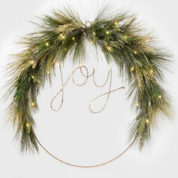 Prelit Joy Wreath - Emily Henderson and Target.