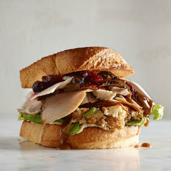 Leftover Thanksgiving turkey on a beautiful sandwich! #turkeysandwich #thanksgiving #leftovers