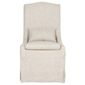 Linen upholstered slope arm chair with Belgian style. #chairs #furniture #slipcoveredchair #linenchair #frenchcountry #europeancountry #belgianlinen
