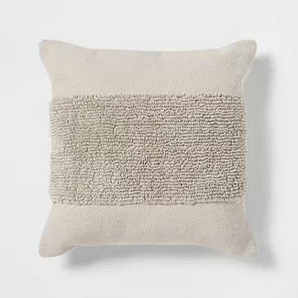 Modern tufted square pillow in natural from Project 62 at Target.