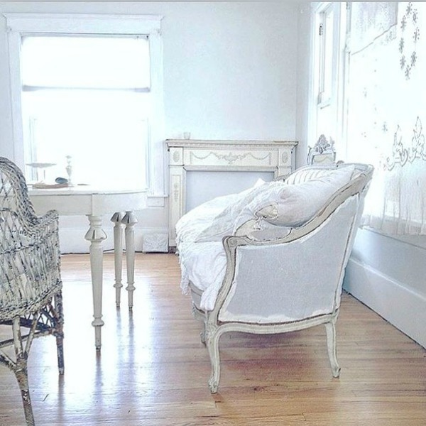 All white decor in a Nordic French cottage by My Petite Maison.