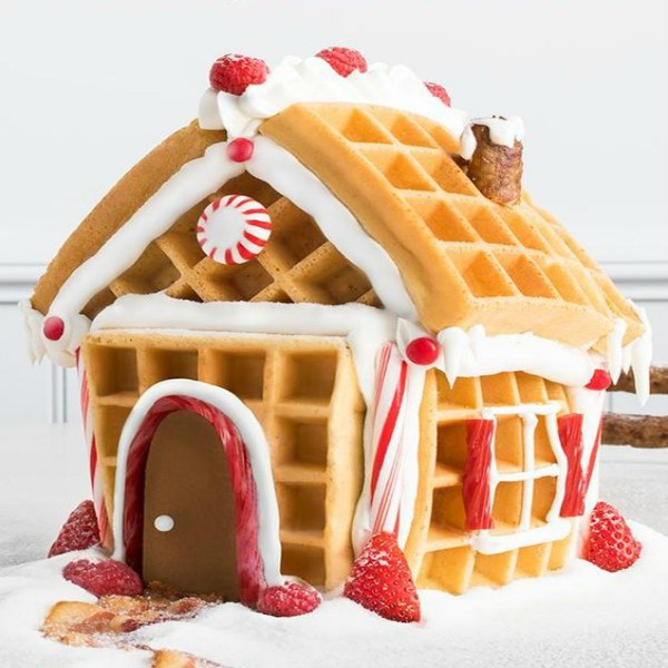 Whimsical waffle gingerbread house - Target. #gingerbreadhouse #wafflehouse #christmasdiy #holidaybaking