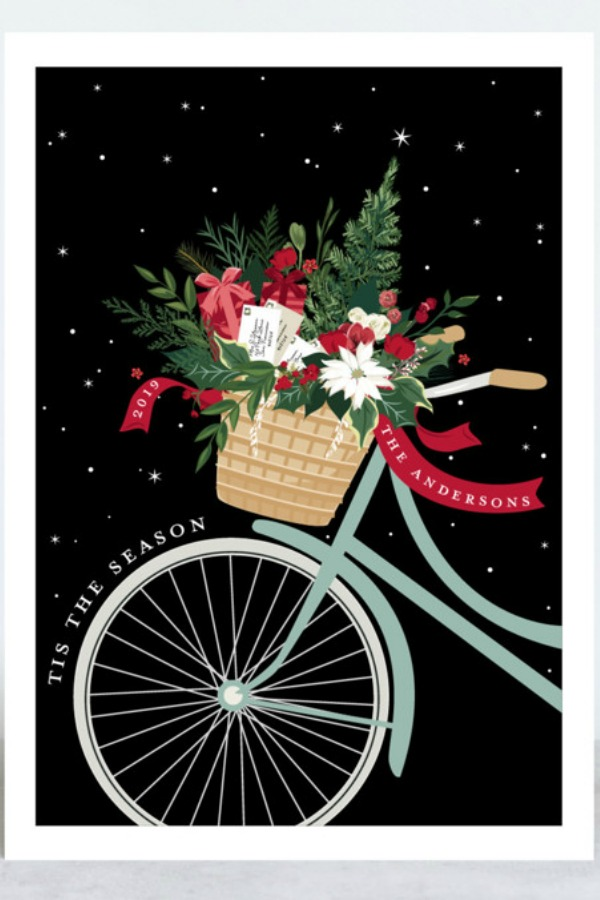 Beautiful bicycle with basket of holiday cheer personalized Christmas card designed by Susan Moyal for Minted. COME BE INSPIRED by 7 Christmas Card Photo Hacks!