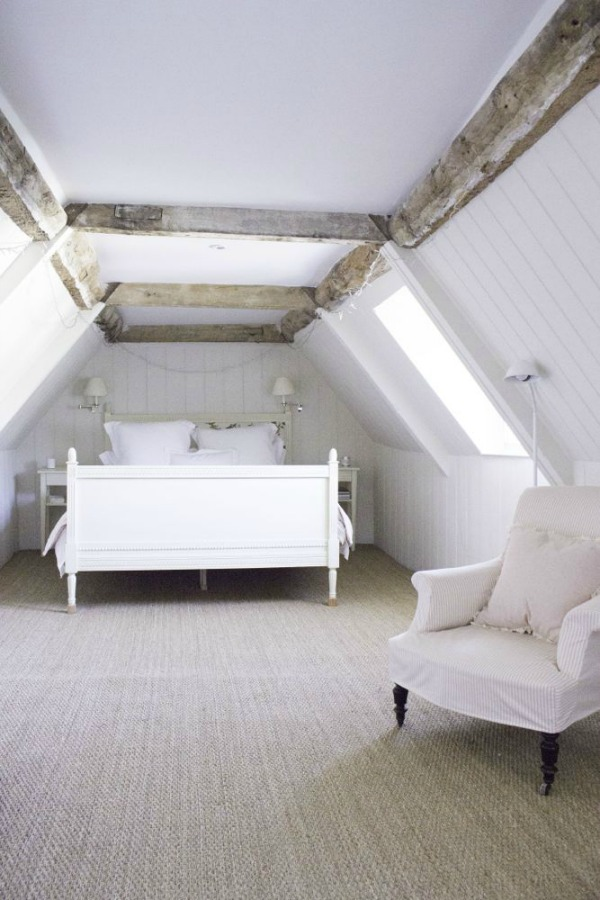 Bedroom - Charming white Scandinavian style cottage interiors in a property called the Hatch (Beach Studios) near London. #scandinavianstyle #cottage #interiordesign #whitedecor