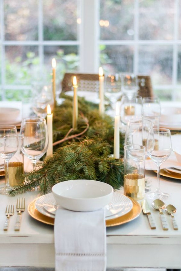 Simple and natural holiday tablescape - Zevjoy. Come be calmed by How to Freak Less About Holidays, Decorating and Gifts as well as Entertaining.  #holidaydecor #holidaytable #tablescape #frenchcountry
