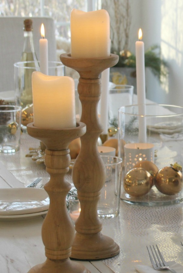 White Christmas table with gold accents and white painted farm table. #hellolovelystudio #christmastour