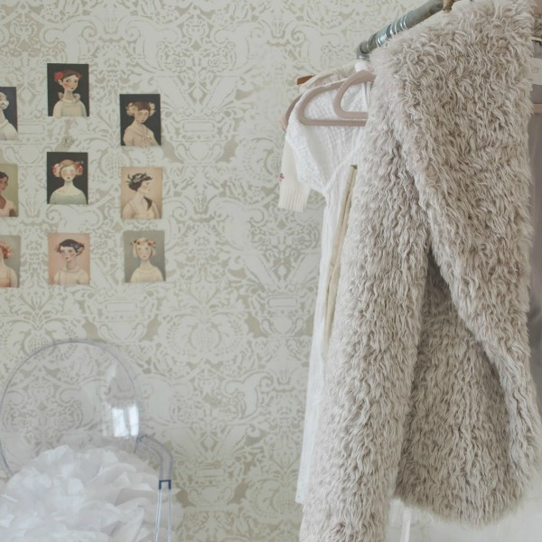 Pointe shoes and a teddy bear faux fur jacket in my dressing room - Hello Lovely Studio.
