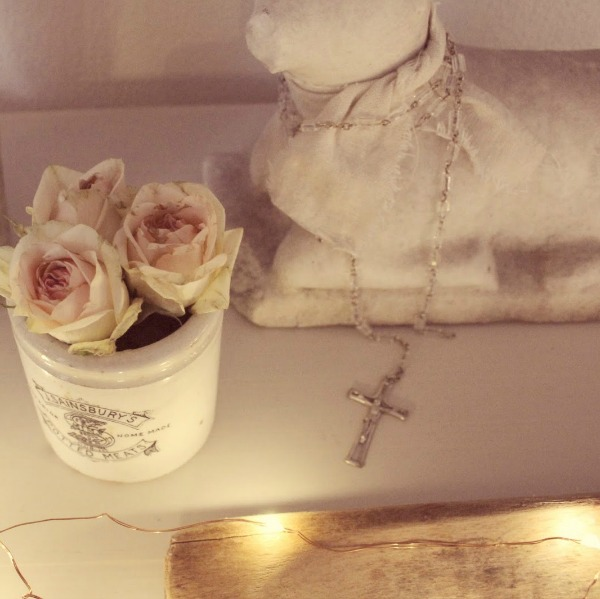 Marble lamb and vintage English crock with roses - Hello Lovely Studio.