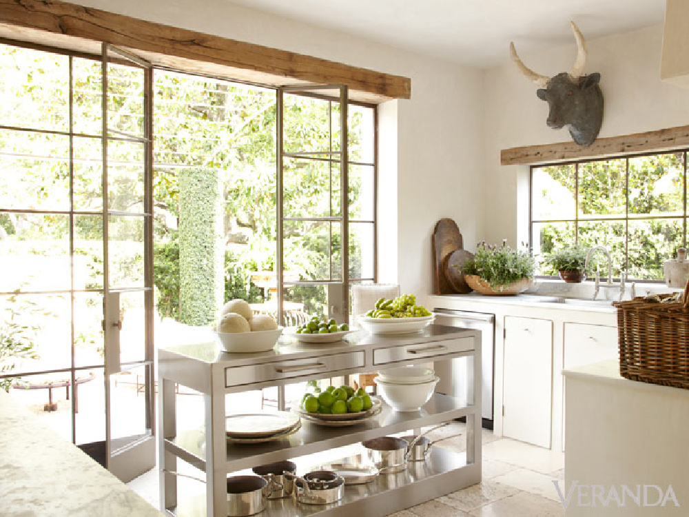 Pamela Pierce's own French inspired kitchen. Come score ideas for a Timeless and Tranquil European Country Inspired Look. #europeancountry #interiordesign #frenchcountry