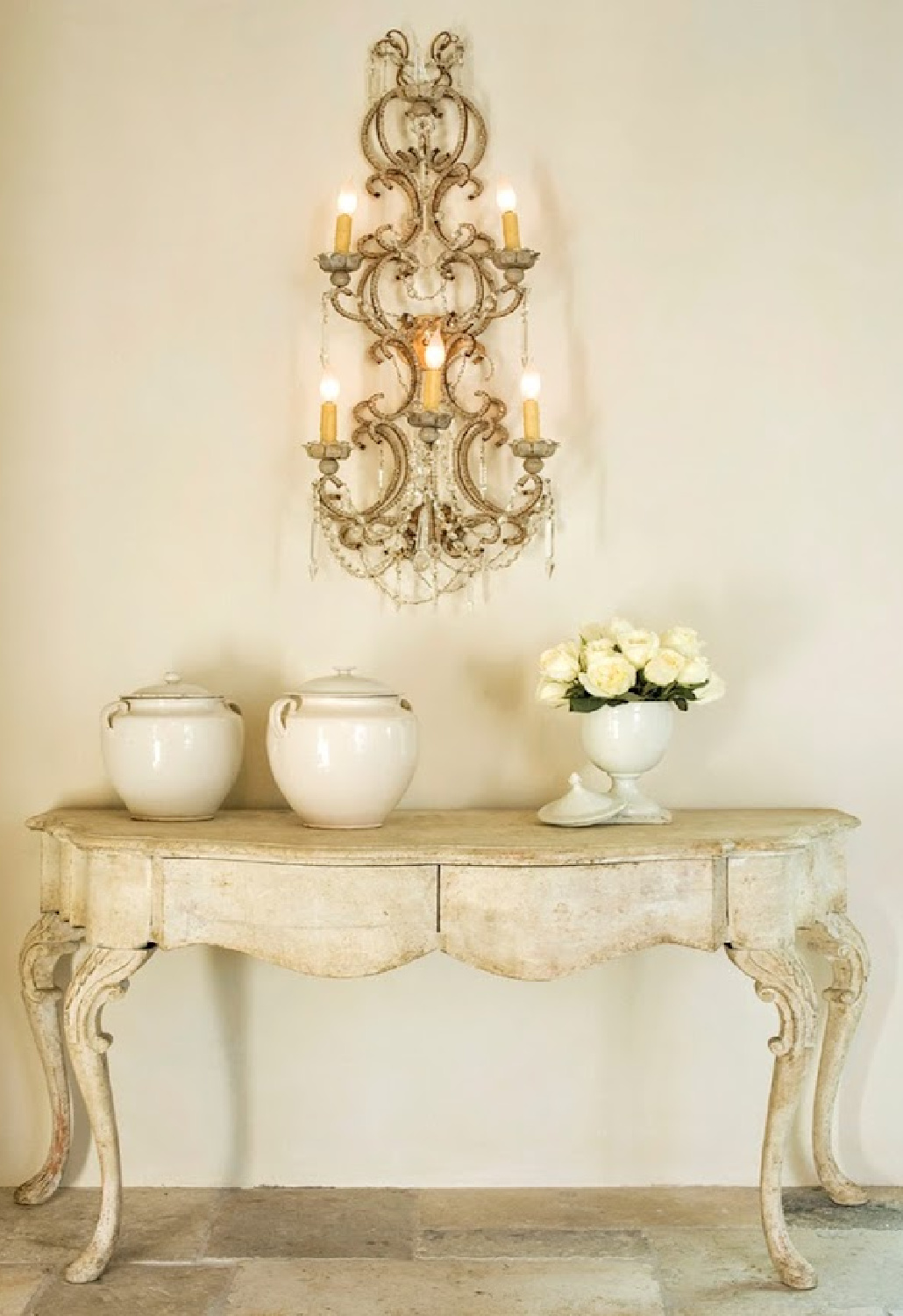 Pamela Pierce designed vignette. Come score ideas for a Timeless and Tranquil European Country Inspired Look. #europeancountry #interiordesign #frenchcountry