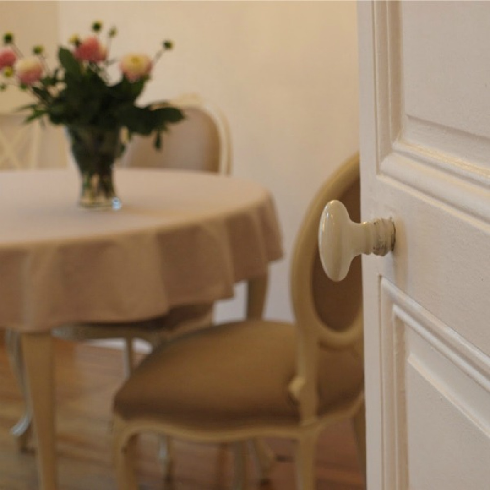 Parisian dining room with oval back Louis style chairs - Hello Lovely Studio.