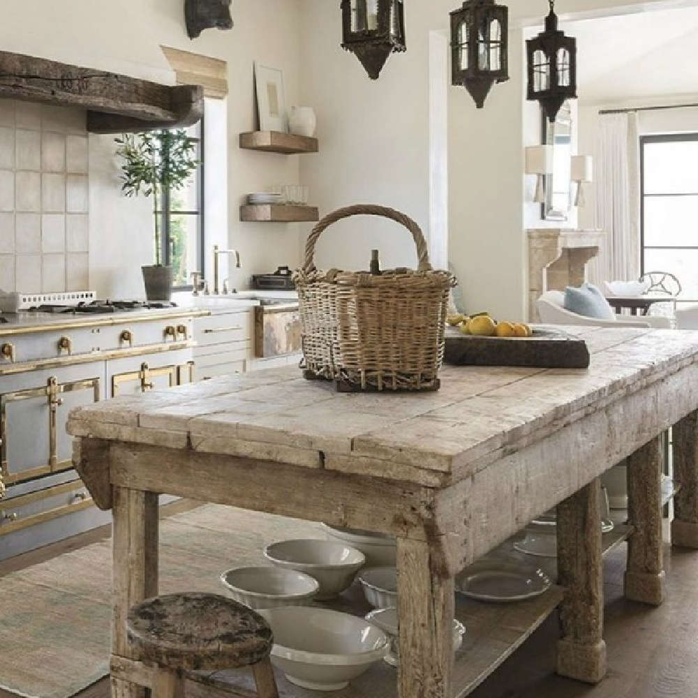 Magnificent, elegant, refined kitchen in Milieu magazine. Design by Cathy Chapman. Photo by Peter Vitale, Architect Home Front Build. #frenchfarmhouse #frenchcountry #europeancountry #interiordesign #kitchen #rustic