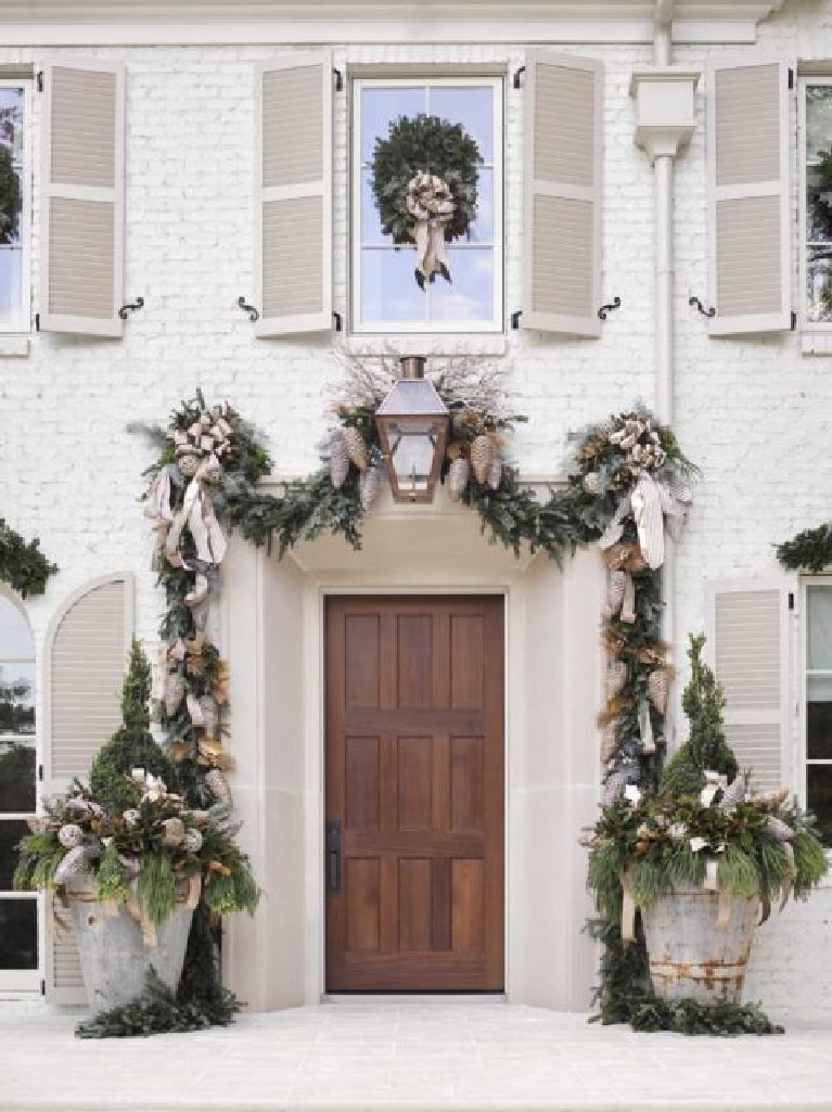 Charming French country inspired Christmas decorated white house exterior! AHL magazine's Home for the Holidays showhouse!