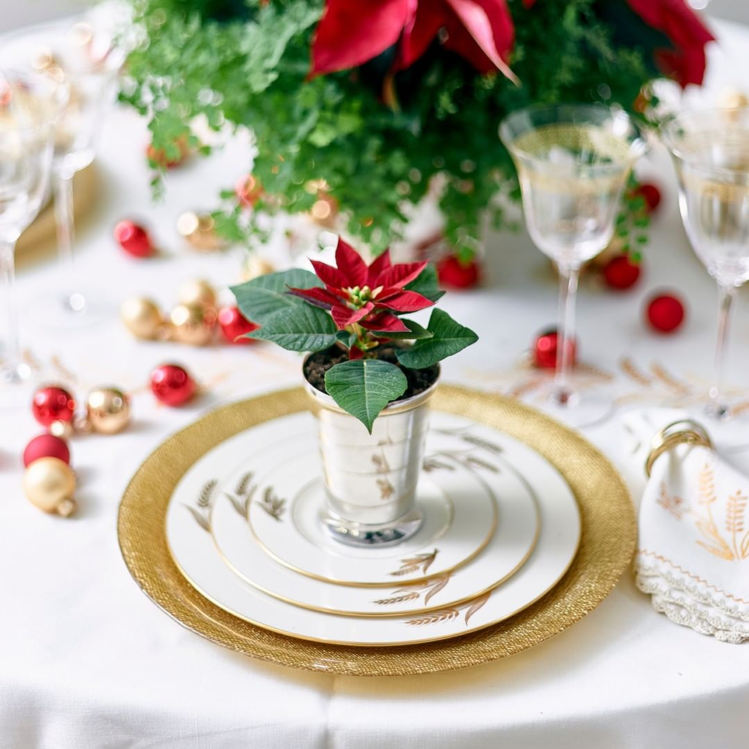 Elegant and sophisticated Christmas placesetting with red and gold by Zeb Grant Design for Atlanta Home for the Holidays Showhouse.