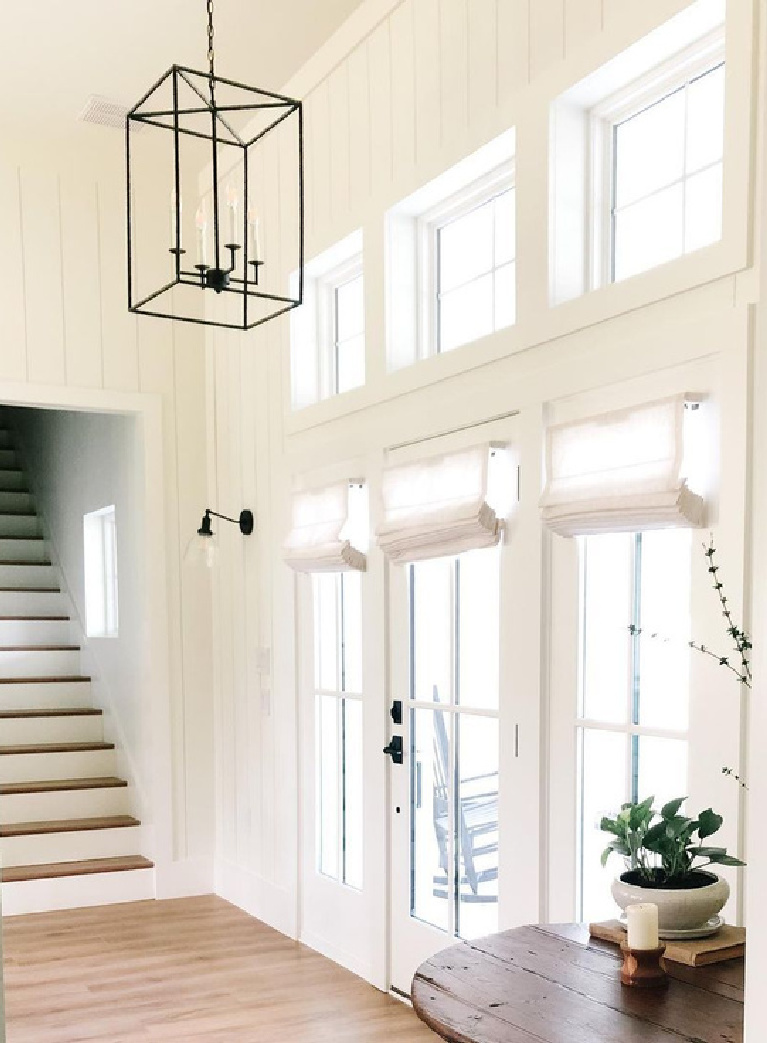 Simply White (Benjamin Moore) on walls and trim in a home by @sutherland_home