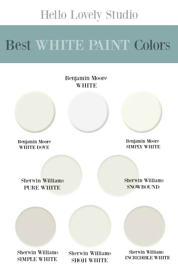 Best White paint colors - Hello Lovely Studio. #whitepaints #paintcolors #bestwhites #interiordesign