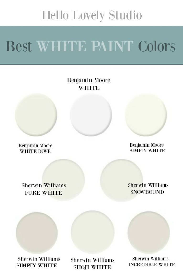 Best White Paint Colors that designers use again and again - Hello Lovely Studio. #whitepaintcolors #bestwhites #designerpaintcolors