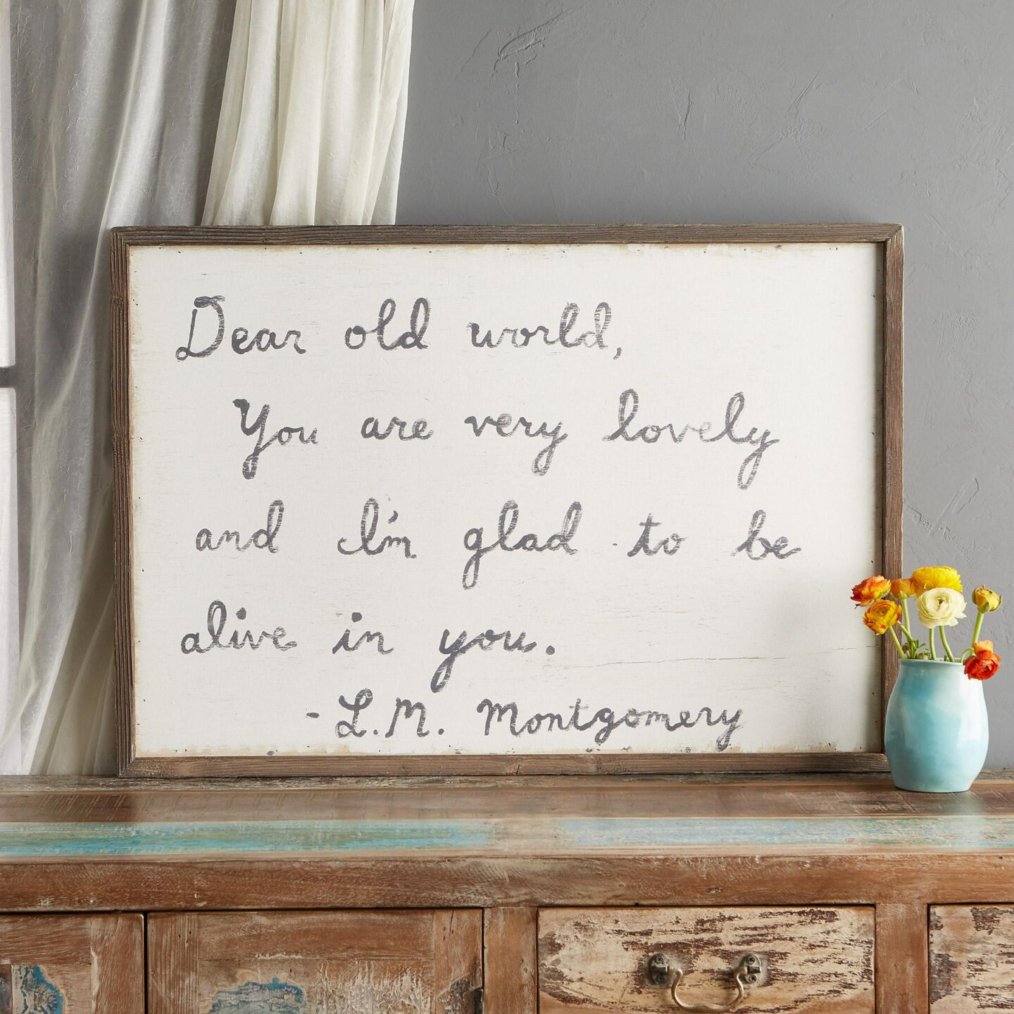 Dear Old World print with quote by Lucy Montgomery in rustic wood frame - Sundance. #gratitudequotes #framedprints #frenchcountry #countrydecor #wallart #homedecor