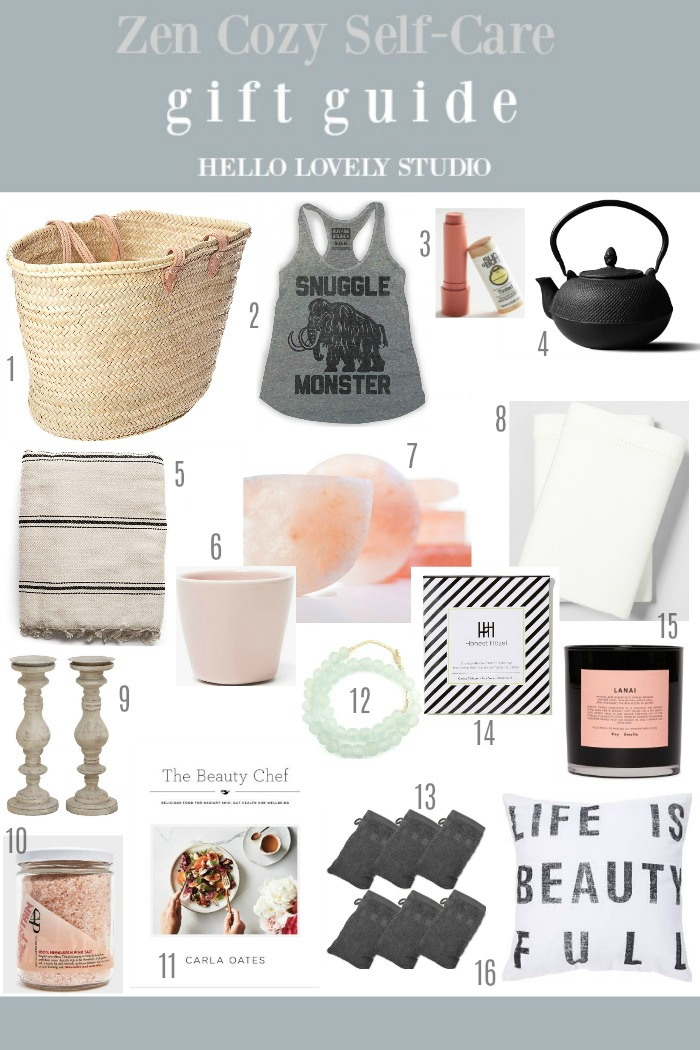 Gift guide for zen cozy self-care lovers - Hello Lovely Studio. #giftguide #homebody #cozygifts #zengifts #selfcare