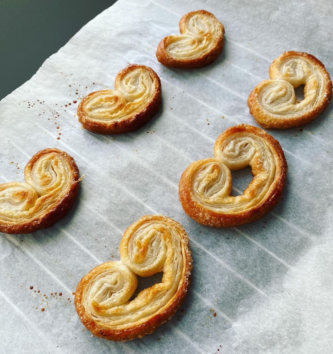 Heart palmiers on waxed paper - @cooking._.madness