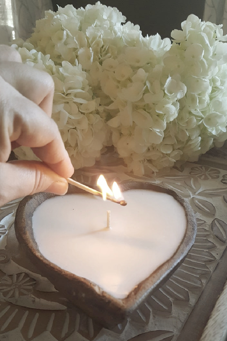 Heart shaped candle in wooden dough bowl - LiveYoungCandleCo on etsy.