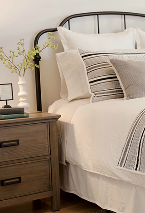 Hearth and Hand linen blend pillow cases and bedding from Target.