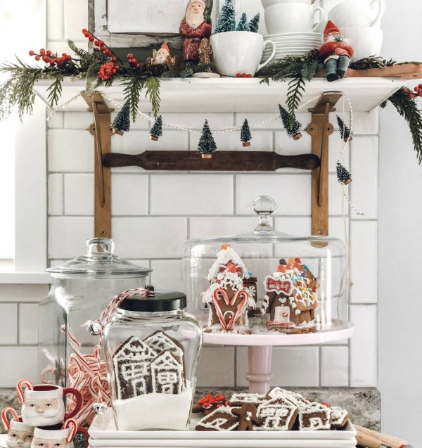 Whimsical and charming French farmhouse Christmas decor in a kitchen with cookies and vintage design elements - Le Cultivateur.  23 Charming Christmas Decorating Ideas to Save for 2020. #christmasdecor #frenchfarmhousechristmas #christmaskitchen #vintagechristmas