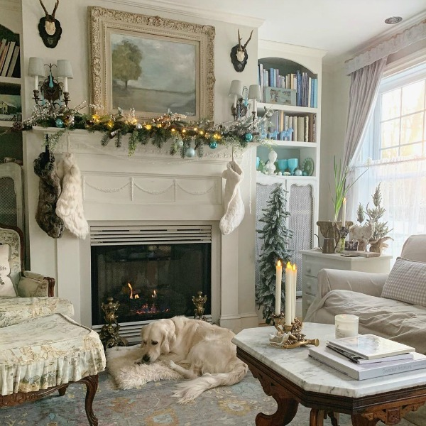 Soft and elegant French country Christmas living room with sophisticated and subdued palette - Amy Chalmers of Maison Decor. 23 Charming Christmas Decorating Ideas to Save for 2020. #frenchcountrychristmas #frenchchristmas #livingroom #christmasdecor #elegantchristmas