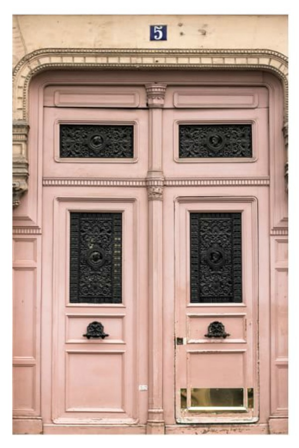 Paris Pretty in Pink framed print by Rebecca Plotnick - Pottery Barn. #blushpink #parisdoors #pinkparis