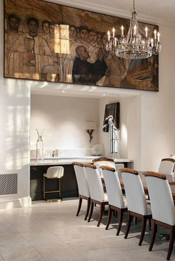 Magnificent and luxurious dining room with religious painting and opulent crystal chandelier. #luxuryhome #diningroom #scottsdalehome