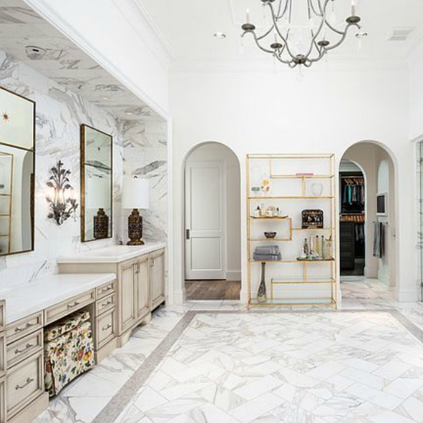 Luxurious white marble French country bathroom in a stunning Scottsdale home. #luxuriousbathroom #whitemarble #bathroomdesign