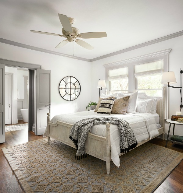 This tranquil Tudor cottage was renovated on HGTV's Fixer Upper by Chip and Joanna and is known as the Scrivano House. #fixerupper #scrivano #cottagestyle #interiordesign #greytrim #serenedecor #bedroom