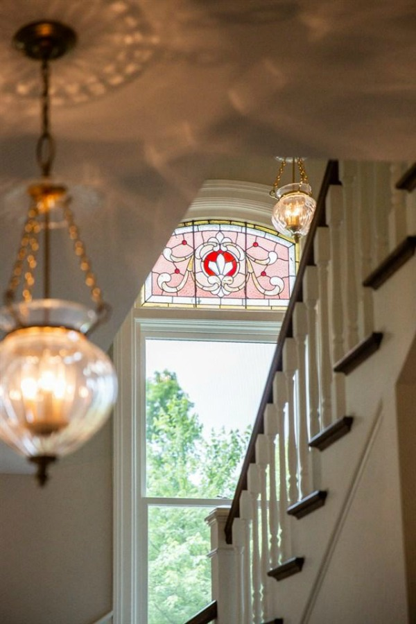 Beautiful stained glass window in Architecturally magnificent Victorian style historic home tour (Beloit, WI). #victorianhome #interiordesign #hometour #homerenovation #historichome