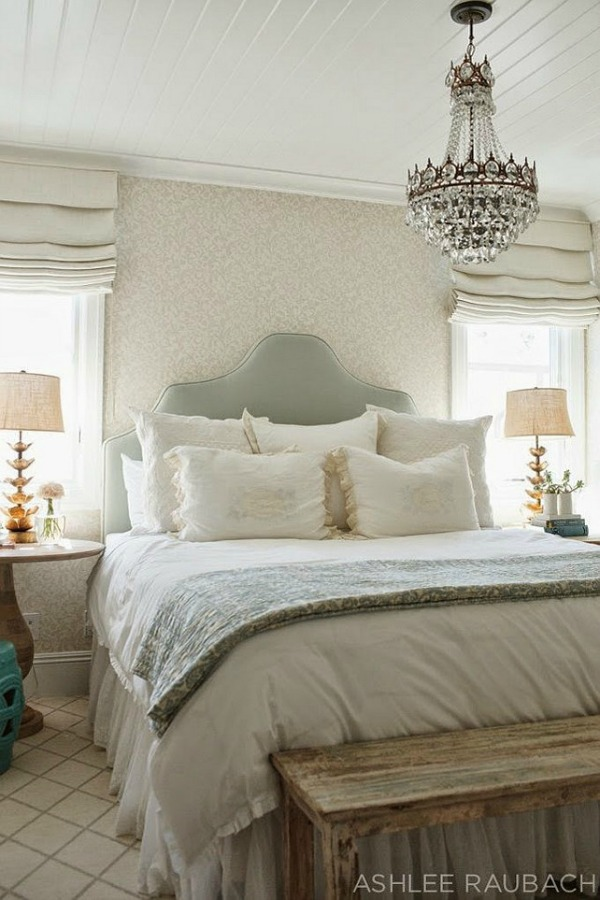 Romantic muted colors in a bedroom - Ashlee Raubach.