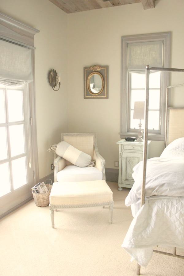 Beautiful Gustavian and French Country style in a bedroom with blue grey trim - Decor de Provence.
