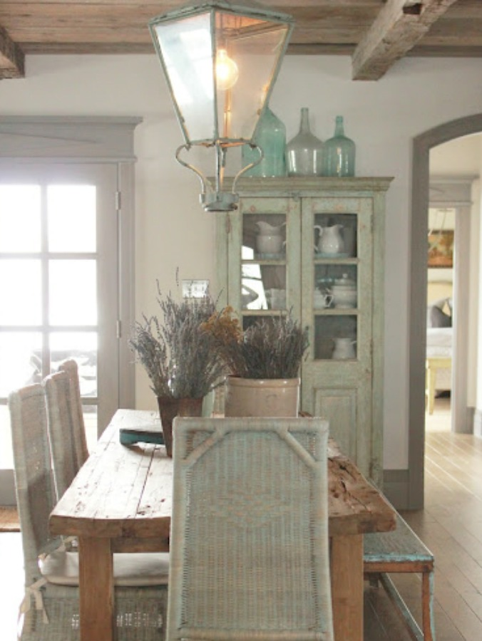 Rustic French farmhouse European country cottage with pale blues and green interiors - Decor de Provence. #frenchcountry #europeancountry #frenchfarmhouse #interiordesign #cottages
