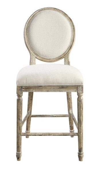 French country linen upholstered counter bar stool.