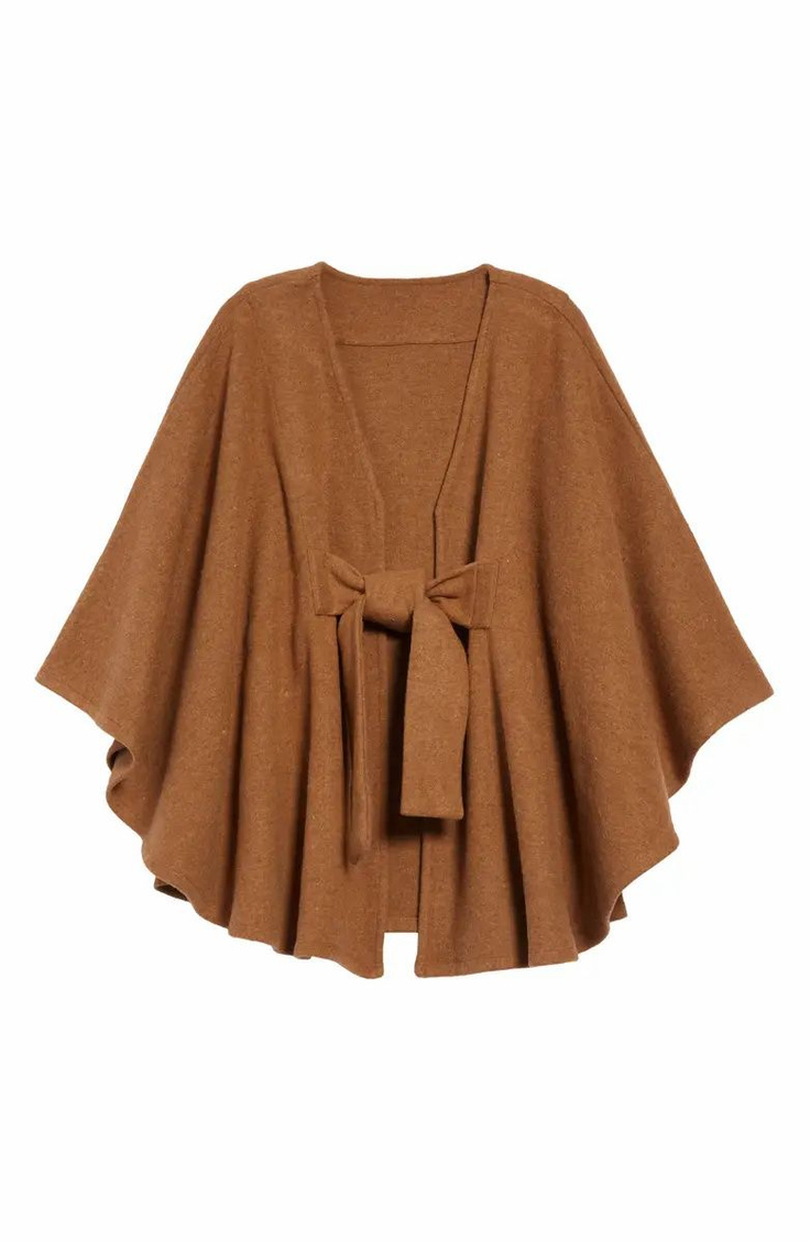 Halogen tie front cape in Cinnamon Dark Heather - Nordstrom