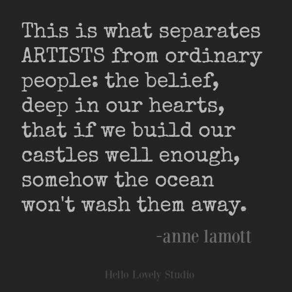 Inspirational quote from Anne Lamott on Hello Lovely Studio. #quotes #inspirationalquote #artists #annelamott