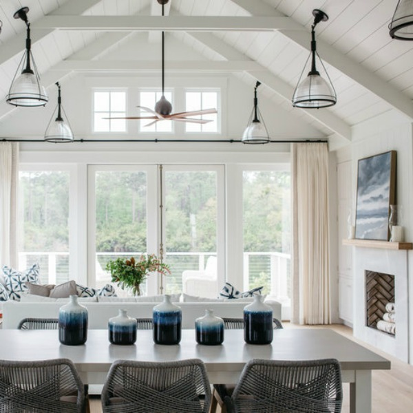 Coastal cottage white dining room with interior design by Lisa Furey. #coastalcottage #diningroom #interiordesign